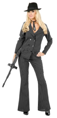 Charades Women's Gangster Moll Suit Costume, As Shown, Medium