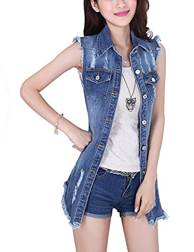 Tanming Women's Sleeveless Button Down Ripped Denim Jean Vest Waistcoat (Large, - Vest Top Denim