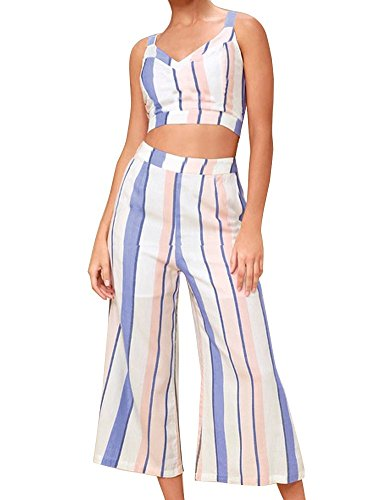 (FANCYINN Women Stripe Printed 2 Pieces Outfits Open and Tie On Back Crop Cami Top with Pants Set Casual Style XL)