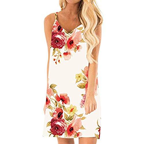 XVSSAA Women V-Neck Print Casual Dress, Summer Ladies Sexy Sleeveless Backless Mini Short Tank Dress - Skirt Inset Knit Leggings
