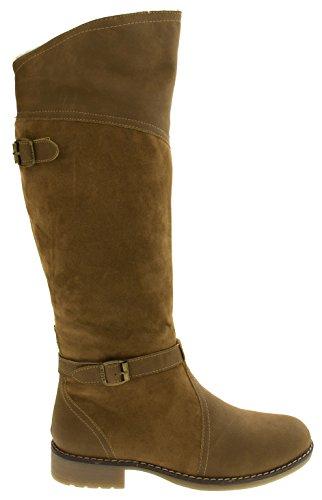 Footwear Studio Keddo Womens Faux Leather Warm Lined Knee High Boots Tan Brown Bnw2f