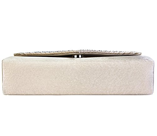 Flap Champagne Tailor Pleated and Charming Clutch Handbag Diamante Bag Envelope Purse Evening 6gTZP