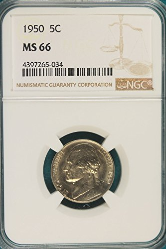 1950 Jefferson US Nickel .05c Cents Bu NGC Certified MS66