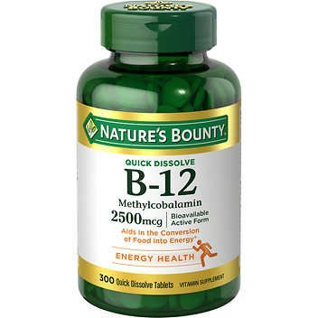 Nature's Bounty Quick Dissolve Fast Acting 2500 mcg Vitamin B-12 Methylcobalamin Natural Cherry Flavor (300 (Natures Bounty Natural Vitamin)