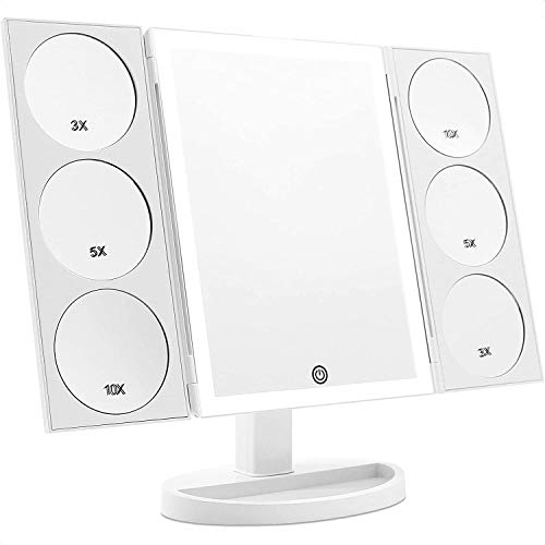 X-Large Makeup Mirror Vanity Mirror with 44 LED Lights, 3 Color Lighting Modes, 10X 5X 3X Magnifying Panels, Dual Power…