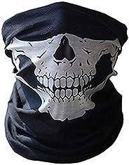suoryisrty Men Unisex Traceless Multifunctional Magic Scarf Horror Skull Skeleton Printed Cycling Windproof Tube Headband Tu