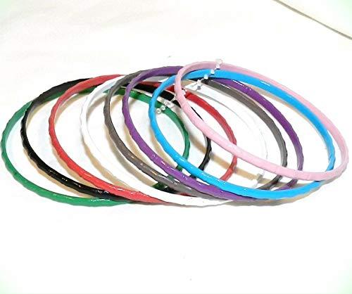 (BR378 8-Set Bangle Bracelet For Women Set Steel & Enamel Assorted Color 3mm Bamboo Design)