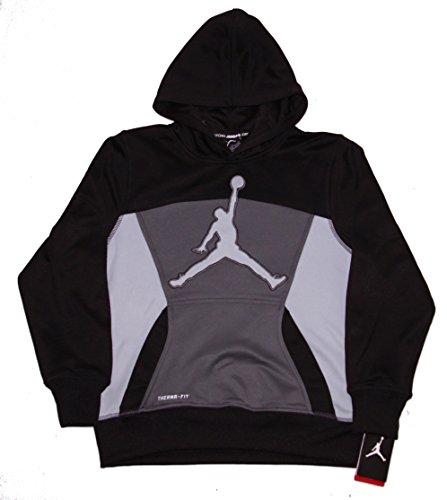 NIKE Boys Youth Air Jordan Therma-Fit Hoodie (L (12-13 Years), Black/Dark Grey)
