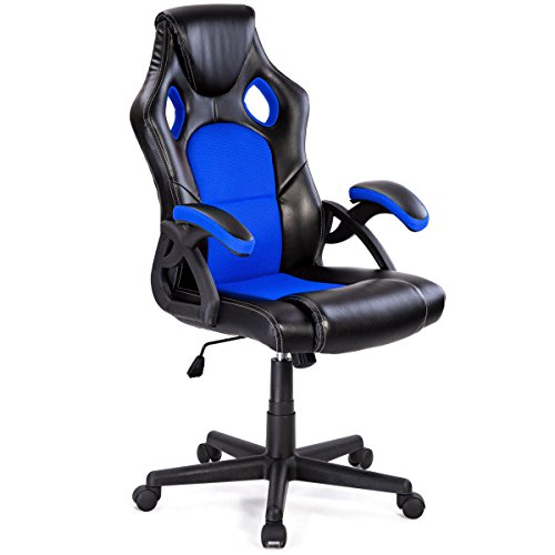 Giantex Executive Racing Office Gaming Chair Ergonomic Leather Style Bucket Seat Computer Desk Task Reclining Gaming Chair (Blue+Black)