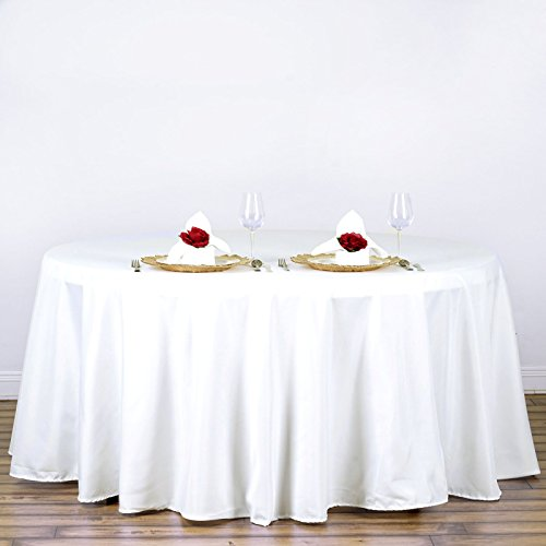 120 in. Round Polyester Tablecloth Ivory