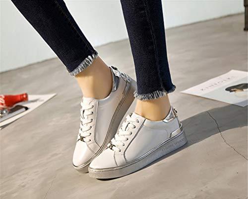 Cuir Dcontractes Shoes En Arrondi New De Dames Pour Bout Printemps White Little Lacets Femmes Chaussures Et 4qxzaAwP