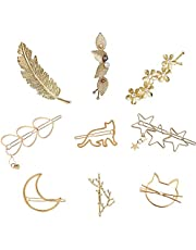 9 Pack Gold Vintage Retro Geometric Hair Clips, Minimalist Hair Pins Metal Pearl Snap Barrettes Claw Clamps Alloy Feather Leaf Moon Star Handmade Accessories Decorations for Lady Women Girls