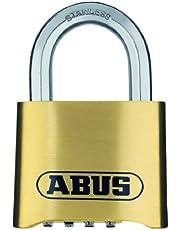 ABUS Cijferslot 180IB/50 - hangslot van messing - weerbestendig - met individueel instelbare cijfercode - 25543 - niveau 5 - messingkleuren