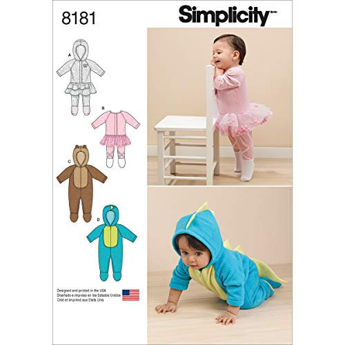 Simplicity 8181 Baby Romper Sewing Pattern for Baby Boys and Girls in Sizes A - Fleece Patterns Baby