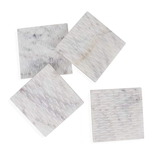 HomeCosmo Set of 4 White Marble Coasters for Drinks, 100% Natural Stone Coasters Set, Hand-cut and Engraved, Protect Furniture from Water Marks Scratch and Damage
