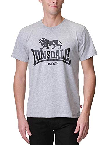 Lonsdale London Men´s Regular Fit Classic Lion Logo T-shirt Grey (Large - London T-shirt 2012