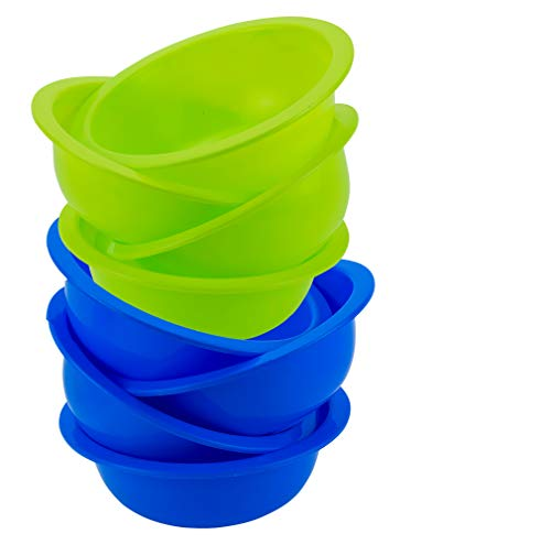 DecorRack Set of 8 Cereal Bowls, Soup Bowl for Salad, Fruit, Dessert, Snack, Small Serving and Mixing Bowls, BPA Free - Plastic, Shatter Proof and Unbreakable, Green & Blue, 28 oz (Set of 8)