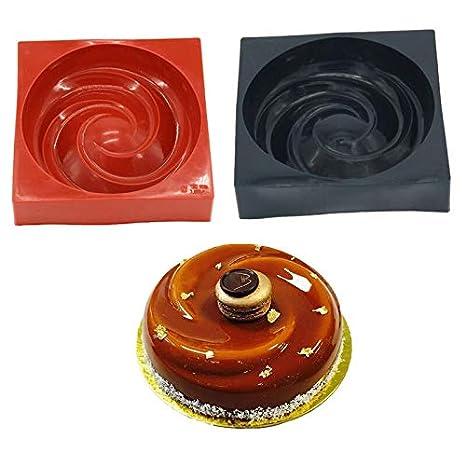 NO LOGO KF-Brownie Pastel de Silicona 3D Circular Espiral de ...