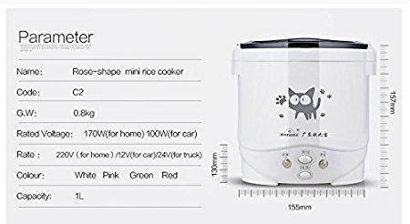 Hot Sales 3 Cups 1-2 People Steam Rice Cooker 12V/24V/110V Mini Electric Rice Cooker For Car/Truck/Home (12V White) by OUSHIBAO (Image #2)