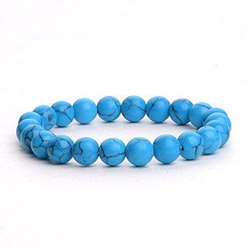 iSTONE Mens Womens Natural Gemstone Blue Turquoise 8mm Round Beads Healing Power Stretch Bracelet 7 Inch