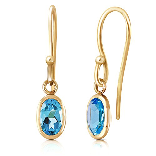 - 1 ctw 14K Solid White, Rose, Yellow Gold Faithful Blue Topaz Earrings 3879 (yellow-gold)