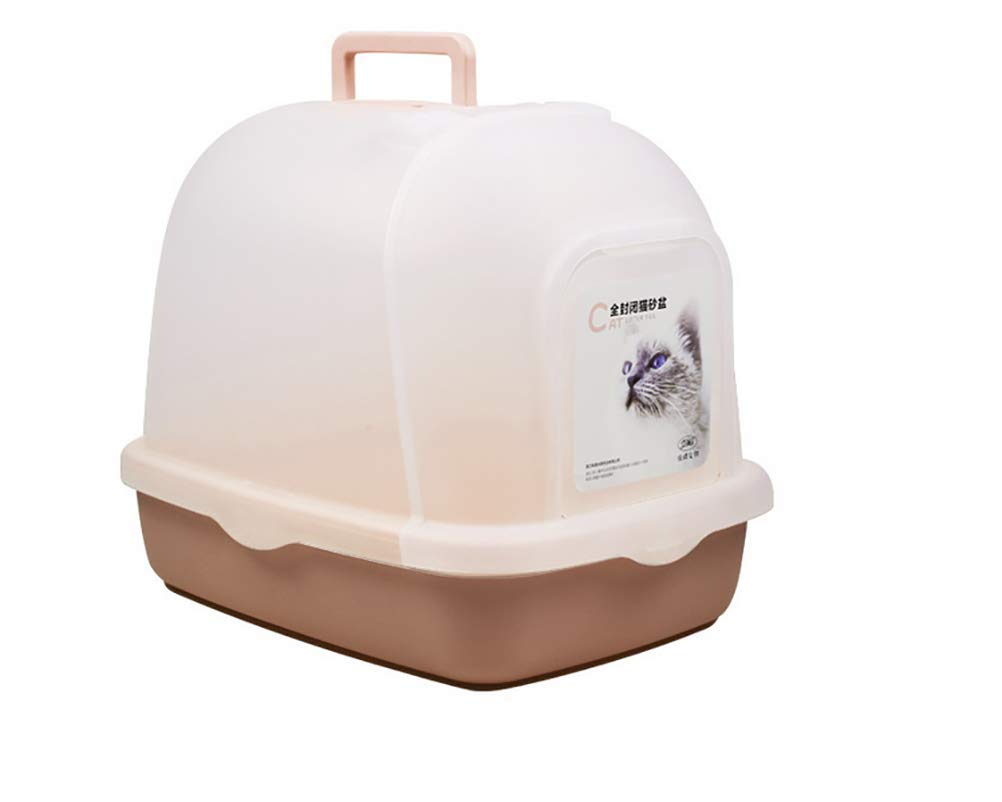 Brown DAN Cat Litter Box,Hooded Cat Litter Pan Kit, Easy Clean Fully Enclosed Cat Toilet, Reduce Litter Scatter Up to 95%, Service for Small Kitty & Big Cat, Includes Scoop