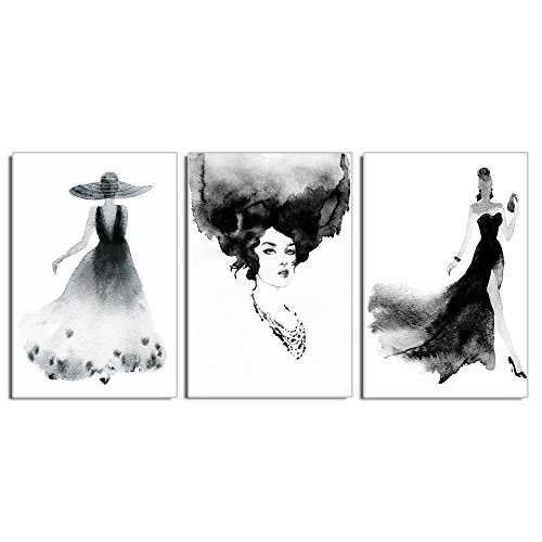 Live Art Decor - Abstract Watercolor Women Canvas Wall Art 3 Pieces Elegance Lady Canvas Prints Contemporary Living Room Decoration,Gallery Wrap Wall Art Easy Hanging - 48