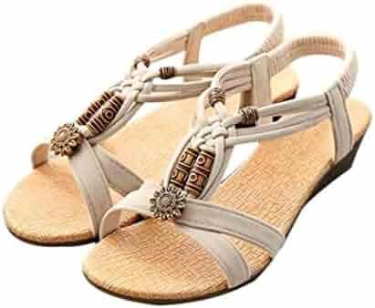 cbff7ab1c71e4 Inkach Fashion Womens Summer Sandals Peep-Toe Flip-Flops Ankle Wrap Buckle Shoes  Beach