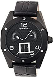 Morphic Men's 'M42 Series Patterned Dial Strap Day/Date' Quartz Stainless Steel and Leather Watch, Color:Black (Model: MPH4205)