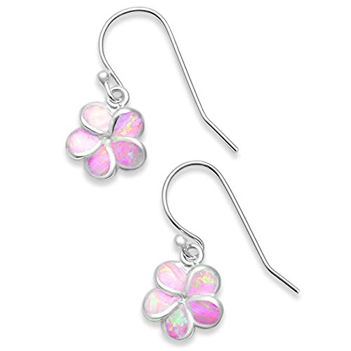 - Sterling Silver Lab Created Pink Opal Plumeria Earrings 10MM