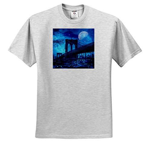 Andrea Haase Art Illustration - Brooklyn Bridge New York with Full Moon Illustration - T-Shirts - Toddler Birch-Gray-T-Shirt (3T) (ts_288963_32)