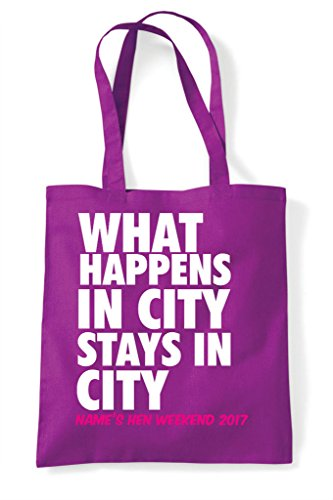 Happens Bag City Customised In Shopper What Tote Hen Do Stays Personalised Magenta Party Your 4tnwZnRq