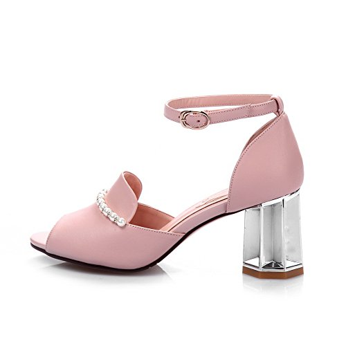 Amoonyfashion Mujeres Buckle Cow Leather Peep-toe Tacones Altos Sandalias Sólidas Rosa