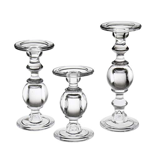 Candlestick Set - Solid Glass Baluster Pillar Candlesticks - Set Of ()