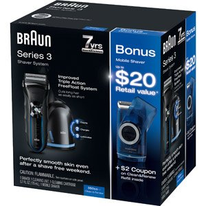 Braun 3 Series 350CC-4 Razor Special Value Pack with Bonus Travel Shaver by Braun