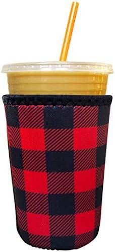 Koverz Neoprene Iced Coffee Java Sleeve - Insulator Sleeve for Cold Beverages, Neoprene Cup Holder - Compatible with Starbucks & McDonald's Coffee - Medium Buffalo Plaid