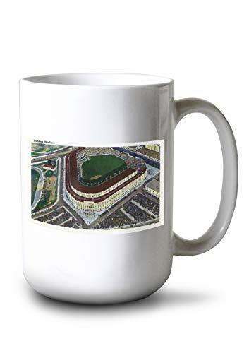 Lantern Press NYC, New York - Aerial View of Yankee Stadium (15oz White Ceramic Mug)