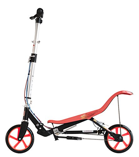 SpaceScooter Ride On Black/Red | Push Board Pump Action Kids Scooter with Handbrake, Air Suspension & Compact Fold Review