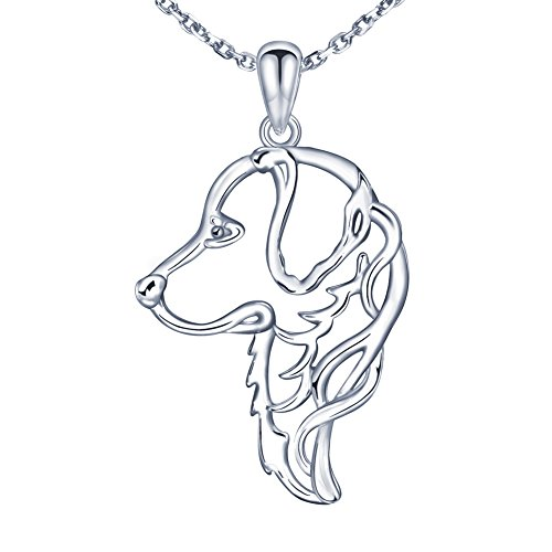 Plated Gold Charm Retriever Dog (MANBU 925 Sterling Silver Charm Unique Golden Retriever Greyhound Dog Pendant Necklace Animal Pet for Women or Girls)