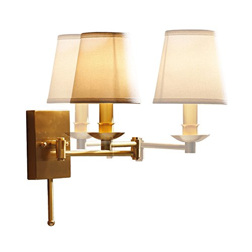 Wall lamp Bracket Light Sconces Country All Copper Telescopic Rocking Cloth Fabric Pure Copper Living Room Bedroom Bedside Creative