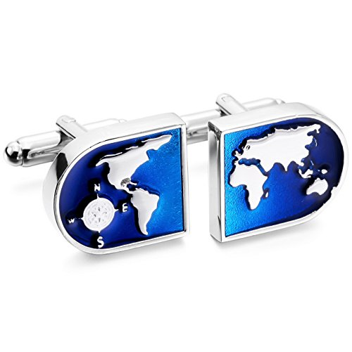 MOWOM Silver Tone Blue 2PCS Rhodium Plated Cufflinks World Map Shirt Wedding Business (Mens Cufflinks Tone)