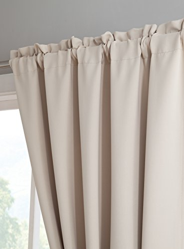"""Erica - Premium Rod Pocket Blackout Curtains with Tiebacks - 2 Panels - Total 108 Inch Wide (54 Each Panel) - 84 inch Long - Solid Thermal Insulated Draperies (54"""" W x 84"""" L - Each Panel, Ivory) - PACKAGE INCLUDES: 2 rod pockets curtain panels and 2 rope tiebacks. PERFECT SIZE: 54 inches wide x 84 inches long each. Total size 108 inches wide by 84 inches long ROD POCKET: Easy to hang rod pocket - Fits up to 2.5 inch curtain rod. Side hem half inch and bottom hem 2 inch - living-room-soft-furnishings, living-room, draperies-curtains-shades - 41lNNVrmIYL -"""