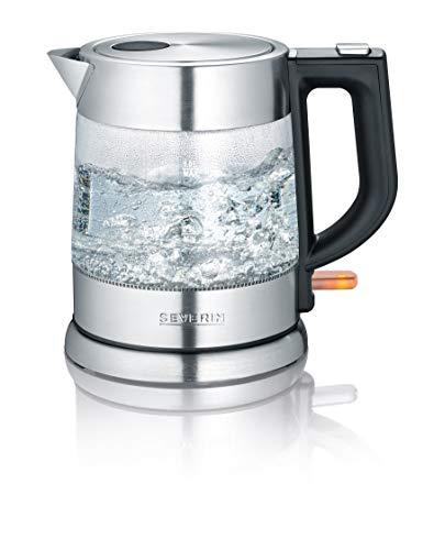SEVERIN Hervidor de Agua de Cristal, 1 L, 2 200 W aprox , WK 3468, Acero Inoxidable/Negro