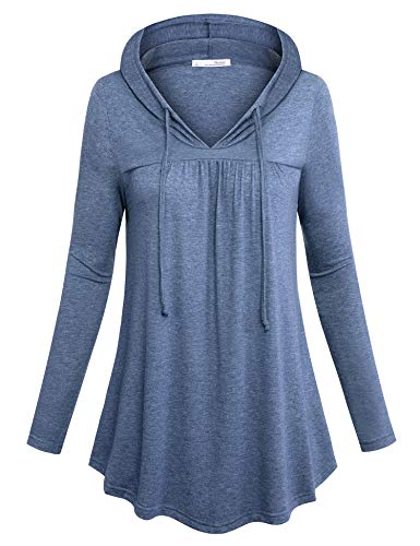Messic Knit Shirts for Women, Long Tops to Wear with Leggings Flattering Office Outwear Ultral Soft Cozy Pleated Tops Athleisure Classy Designer Swing Lightweight Tunics 2018 Blue L