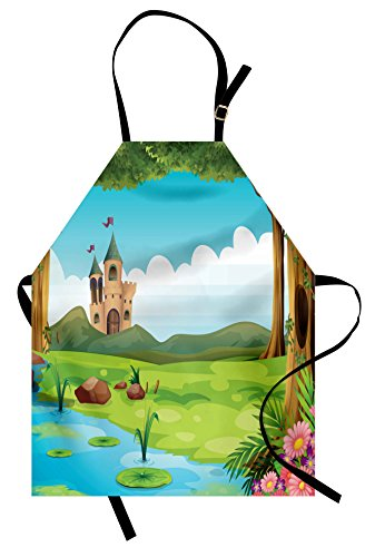 Lunarable Castle Apron, Scenic Landscape with Castle Forest and Lake Children Cartoon Water Lilies and Trees, Unisex Kitchen Bib Apron with Adjustable Neck for Cooking Baking Gardening, Multicolor]()