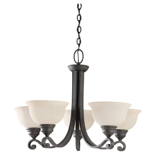 Sea Gull Lighting 39059BLE Five-Light Fluorescent Serenity Chandelier, Weathered Iron Finish with Dusted Alabaster Glass Shades (Weathered Bronze Five Light Chandelier)