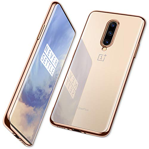 DTTO for Oneplus 7 Pro Case, Soft TPU Clear Stylish Cover All-Round Protection Anti-Falling Case with Metal Luster Edge for Oneplus 7 Pro,Gold