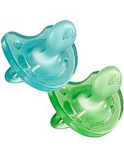 Chicco Physio Soft, Pack de 2 Chupetes de Silicona, 6-16m, Azul/Verde