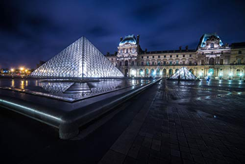 Louvre Art Museum Pyramid Paris France Metal Print Wall Art