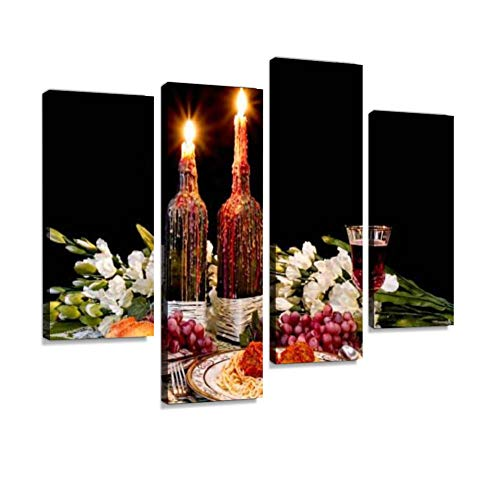 Romantic Spaghetti Dinner with Candles and Melted Wax Canvas Wall Art Hanging Paintings Modern Artwork Abstract Picture Prints Home Decoration Gift Unique Designed Framed 4 Panel